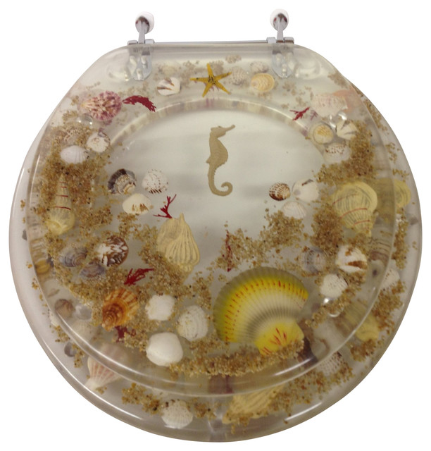 Jewel Seashell And Seahorse Resin Toilet Seat Clear