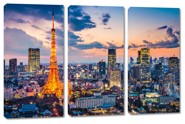 Tokyo Japan Evening Skyline Canvas Print Wall Art 3 Panel Split Triptych Contemporary Prints And Posters By Canvas Quest