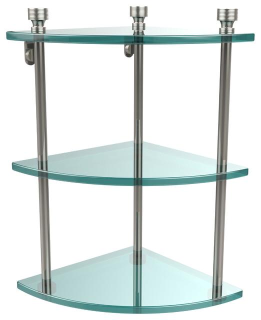 Triple Corner Glass Shelf, Polished Nickel