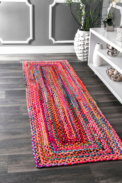 "Bohemian Hand-Braided Chindi Area Rug, Multi, 2'6""x10' Runner"