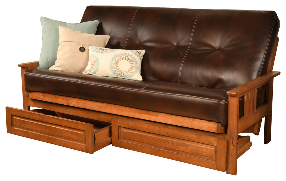 Miraculous Caleb Frame Futon With Barbados Finish Storage Drawers Java Squirreltailoven Fun Painted Chair Ideas Images Squirreltailovenorg