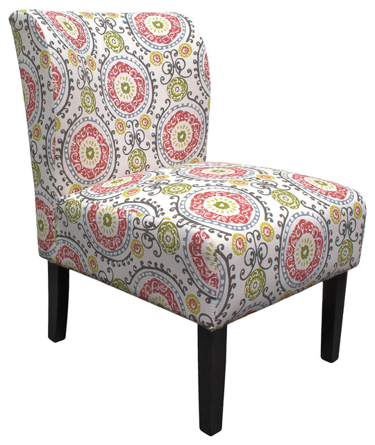 Floral Eggshell Armless Living Room Accent Chair Contemporary Armchairs And Accent Chairs