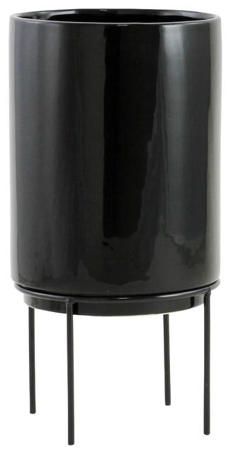 Jemina Midcentury Ceramic Planter Black
