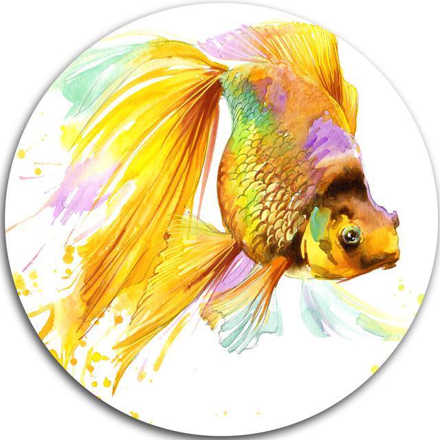 Gold Fish Illustration, Animal Painting Disc Metal Wall Art - Asian ...