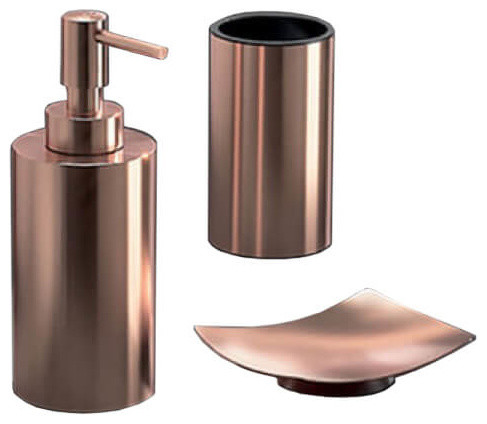 Rose Gold Three Piece Bathroom, Modern Bathroom Accessory Sets