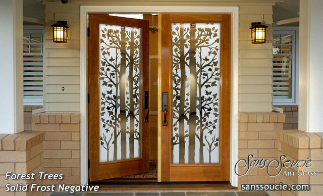 forest trees frosted glass front doors exterior entry door rustic home depot modern uk used commercial for sale