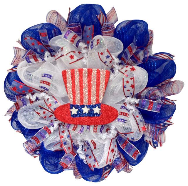 Glittering Uncle Sam Hat Patriotic Deco Mesh Wreath Contemporary