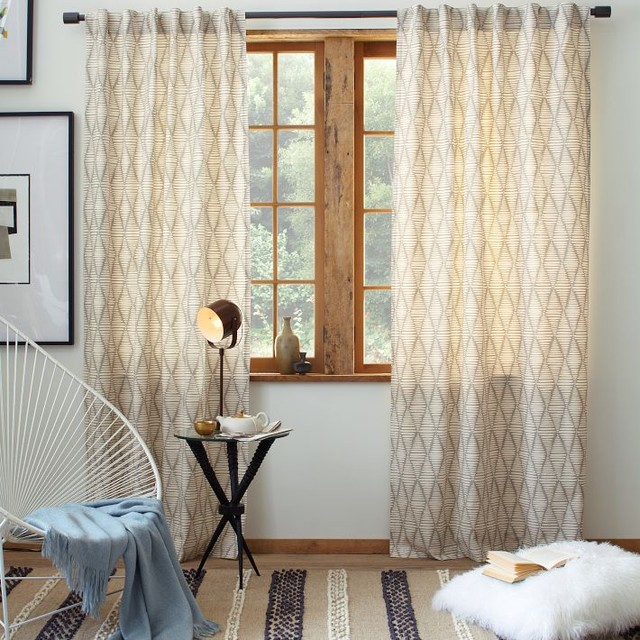 Cotton canvas printed window panel koba contemporary for West elm window treatments