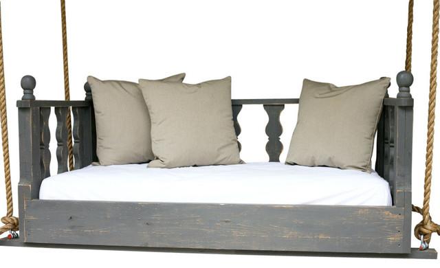 Liliana Swing Bed, Diagon Black, With Mattress, Rope Hanging Kit, 33x70.
