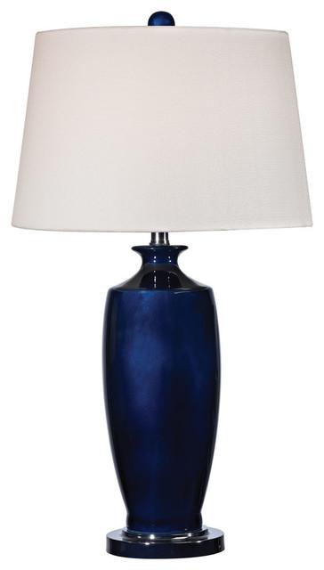 27 Halisham Ceramic Table Lamp, Navy Blue.