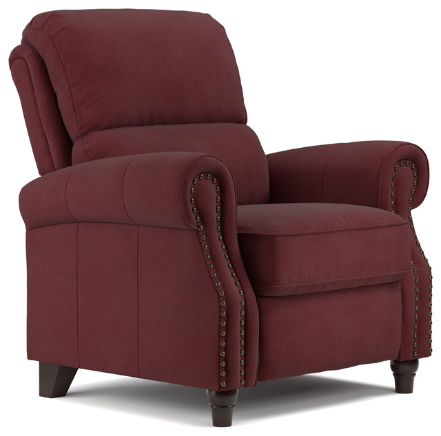Hastings Reclining Chair, Burgundy - Traditional - Recliner Chairs ...