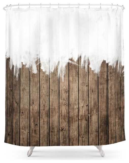 Society6 White Abstract Paint On Brown Rustic Striped Wood Shower Curtain S