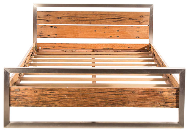 railway wood with stainless frame bed queen rustic platform beds