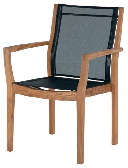 Barlow Tyrie Horizon Teak Stacking Dining Armchair In Textilene Sling,  Charcoal Contemporary Outdoor