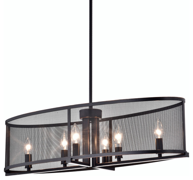 Aludra 6 Light Oil Rubbed Bronze Oval Metal Mesh Shade Dining Room Chandelier