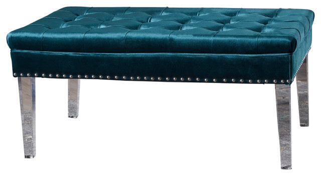 Colonial Tufted Cushion New Velvet Ottoman Contemporary