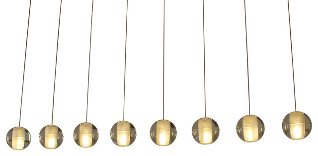 Orion 8-Light Rectangular Floating Glass Globe LED Chandelier