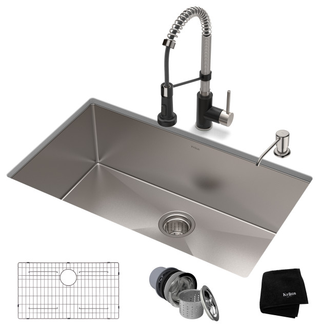 "32"" Undermount Stainless Steel Kitchen Sink, Pull-Down Faucet SSMB w Dispenser"