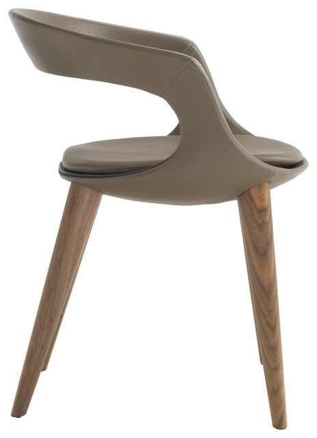 """""""Frenchkiss"""" Low-Back Dining Chair With Canaletto Walnut Legs, Brown, Leather"""