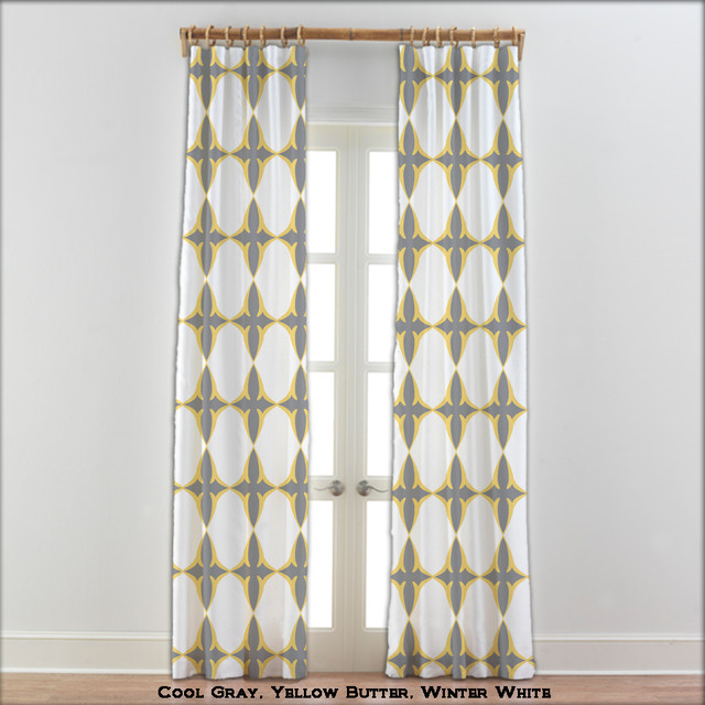 Coptic Cross Curtains In Yellow Gray White