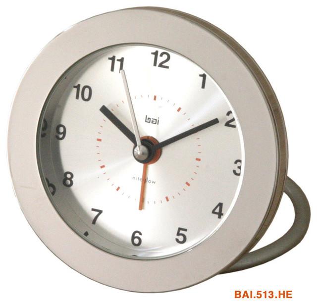 bai iron clad round diecast solid metal travel alarm clock
