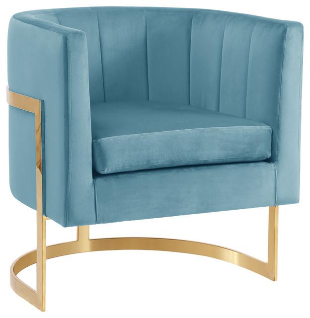 Carter Aqua Velvet Accent Chair