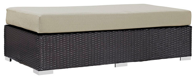 Convene Outdoor Patio Fabric Rectangle Ottoman, Espresso Beige Tropical  Outdoor Footstools And