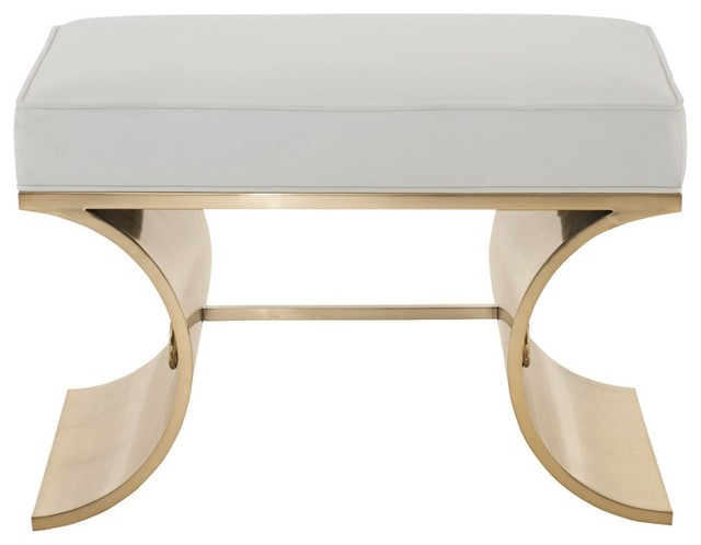 Cosmopolitan White Leather Brass Bench contemporary-upholstered-benches  sc 1 st  Houzz & Cosmopolitan White Leather Brass Bench - Contemporary ... islam-shia.org