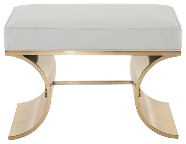 Cosmopolitan White Leather Brass Bench Contemporary