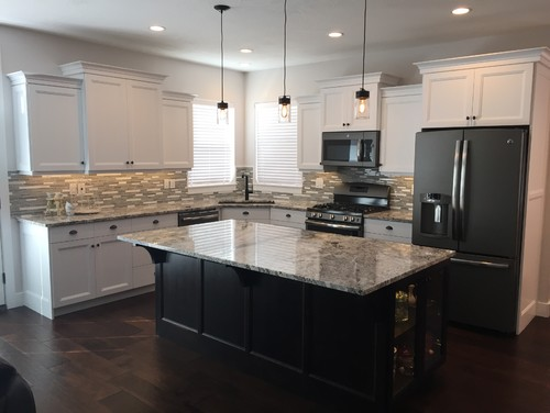 Bangerter Homes - custom buildGranite - 3M Alaska White kitchen with Blackberry island GE Slate ...
