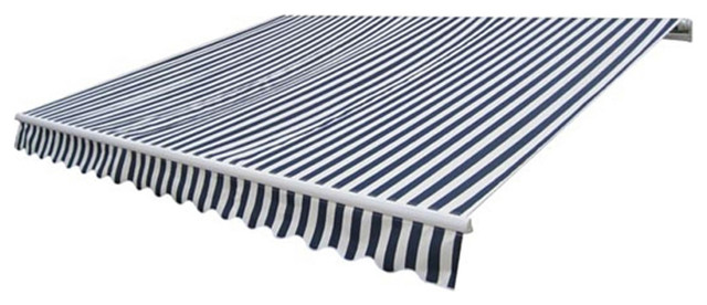 Folding Awning 13&x27;x10&x27; Navy Blue And White.