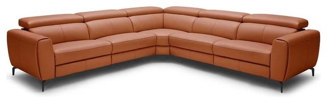Lorenzo Motion Leather Sectional Sofa, Rust