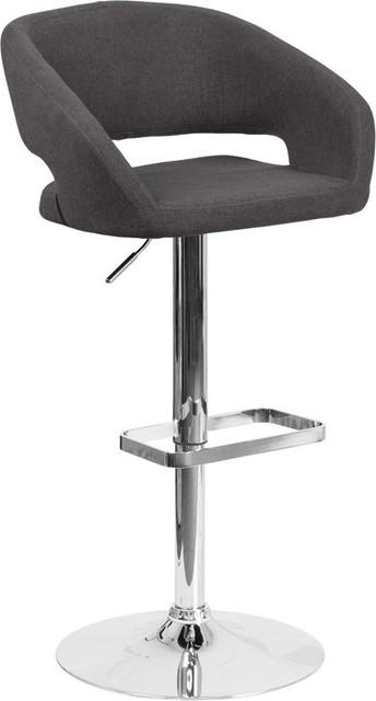 Enjoyable Estella Rounded Mid Back Swivel Charcoal Fabric Adjustable Barstool Theyellowbook Wood Chair Design Ideas Theyellowbookinfo