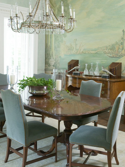 Enclosed dining room - large traditional dark wood floor enclosed dining room idea in Atlanta with green walls and no fireplace
