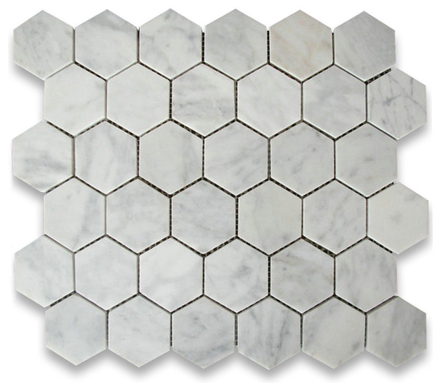 X Carrara White Hexagon Mosaic Tile Honed Chip Size - 2 carrara marble hexagon floors