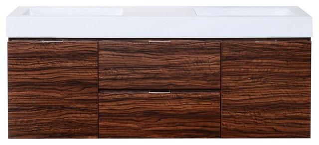 "Pravada Double Sink Wall-Mounted Bathroom Vanity, Walnut, 60""."