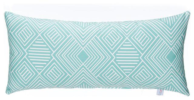 Soho Rectangular Bolster Pillow, Aqua Print.