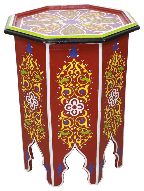 Moroccan Hand Painted Wooden Side Table Red