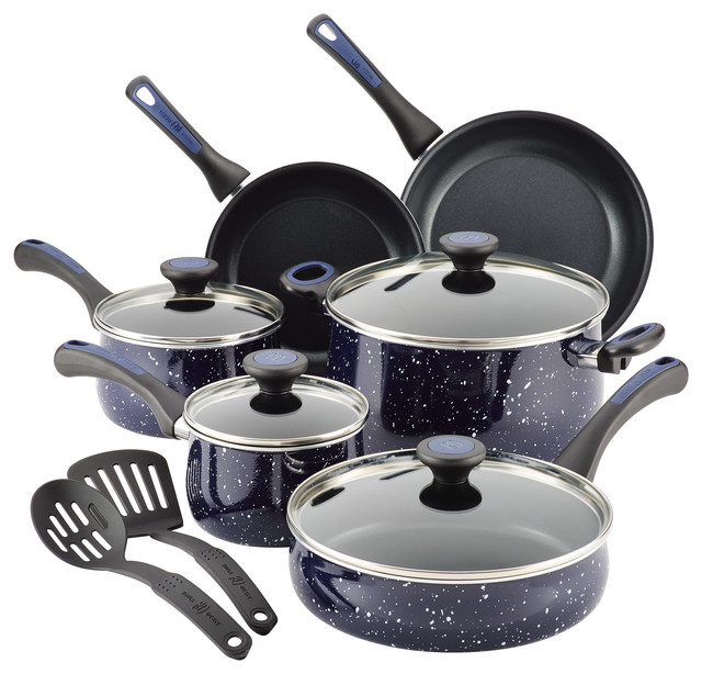 Paula Deen Riverbend Aluminum Nonstick Cookware Set, 12-Piece, Deep Blue Speckle.