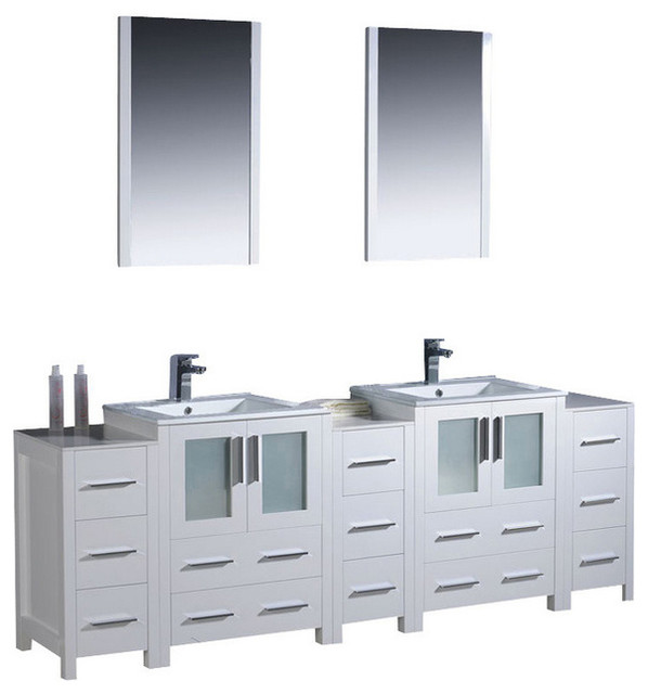 "84"" Double Vanity With Side Cabinets, White, White Ceramic Sink, No ..."