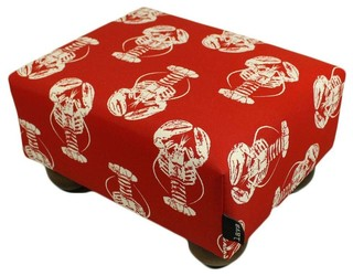 Sea of Lobsters Upholstered Fabric Footstool Ottoman