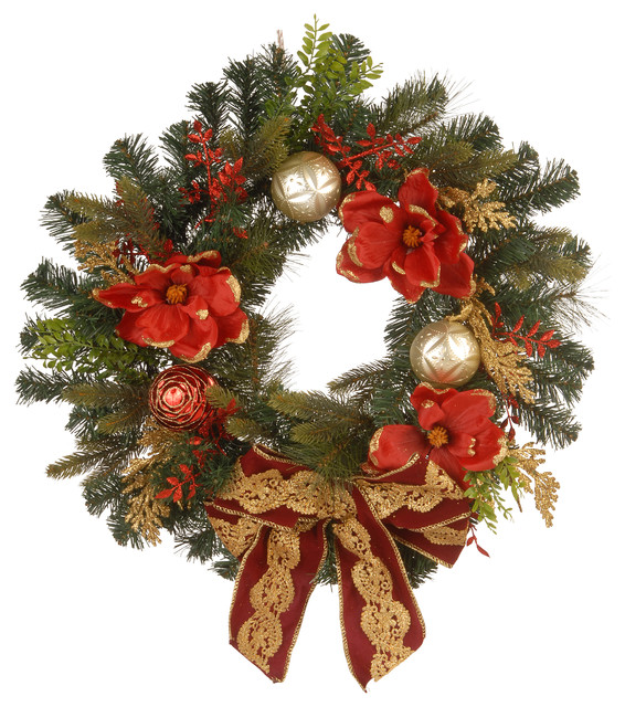 """24"""" Decorative Wreath With Ornaments & Bows."""