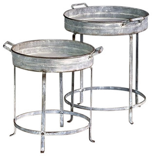 Captivating Galvanized Nesting Tray Tables, Set Of Two   Industrial   Coffee Table Sets    By Glory U0026 Grace