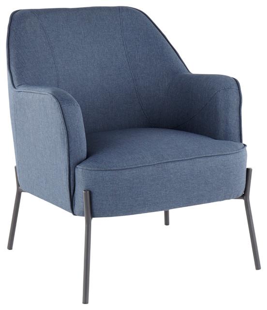LumiSource Daniella Accent Chair, Black Metal and Blue