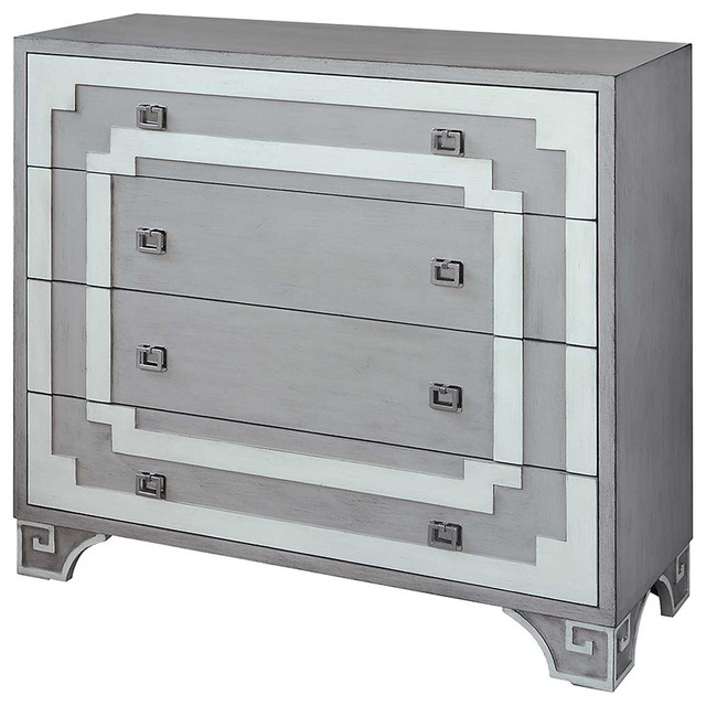Olympia Gray And White Greek Key 3-Drawer Chest.