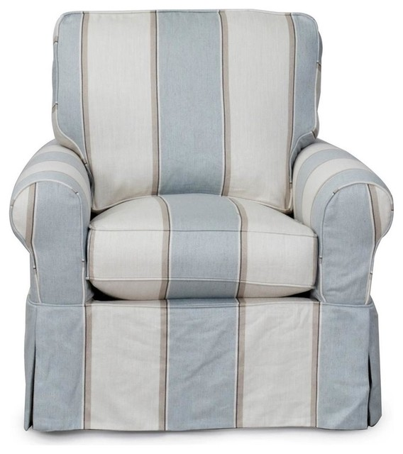 Pleasant Slipcovered Swivel Rocking Chair Beach House Blue Striped Caraccident5 Cool Chair Designs And Ideas Caraccident5Info