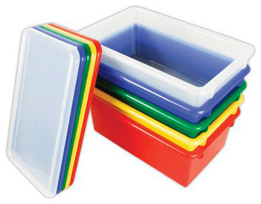 Ecr4kids Playroom Plastic Stack And Tub With Lid 12 Piece Orted