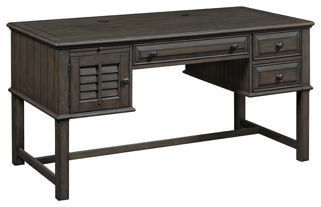 Alois Distressed Gray Office Desk With Storage Cabinets & Drawers.