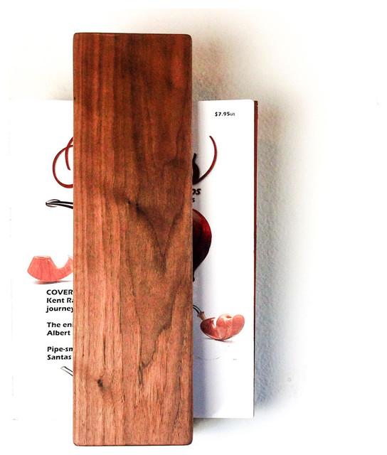 Walnut Floating Magazine Rack
