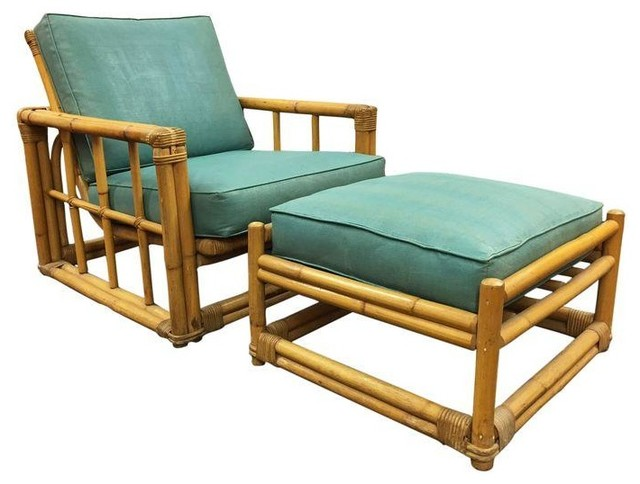 Ficks Reed Vintage Rattan Chair U0026 Ottoman Set Modern Footstools And Ottomans